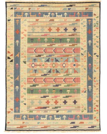 Vloerkleed Plat Geweven Kilim India